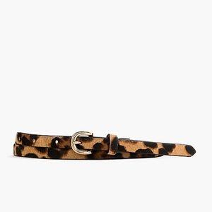 XL J.Crew Leopard Calf Hair Skinny Belt